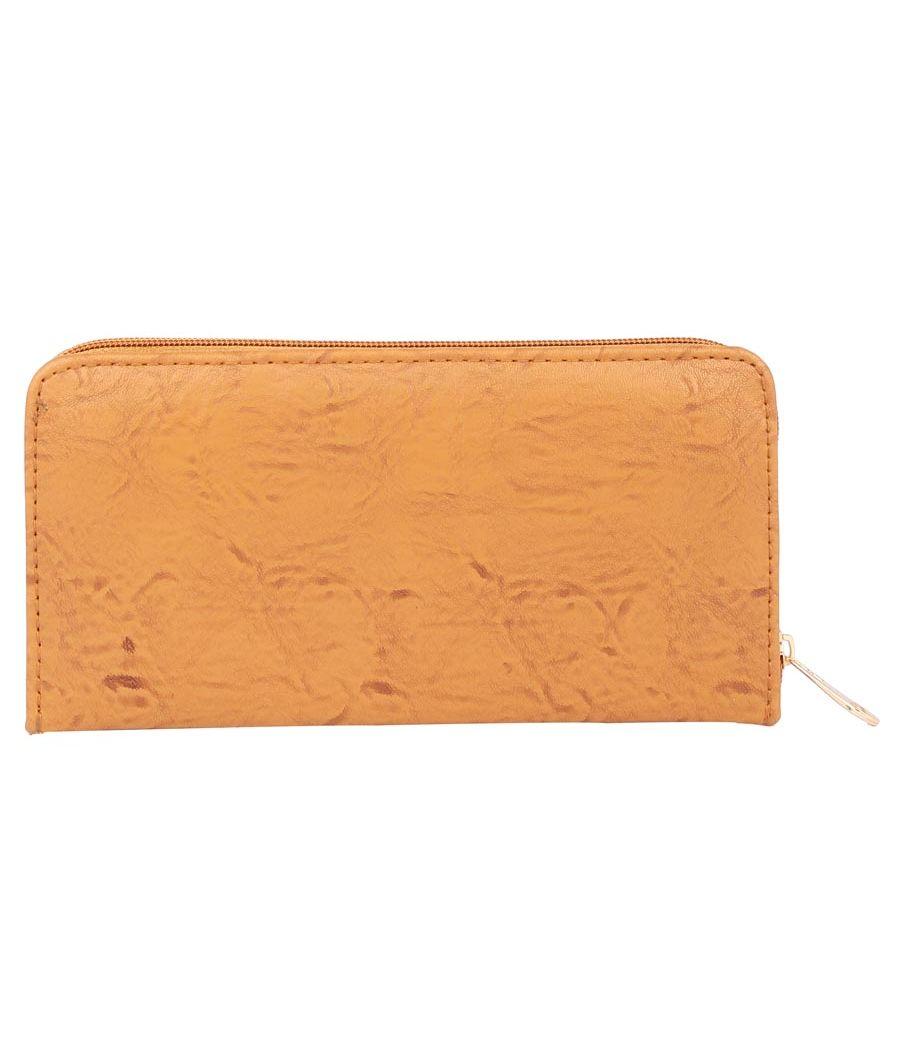 Aliado Faux Leather Mustard Embellished         Zipper Clutch