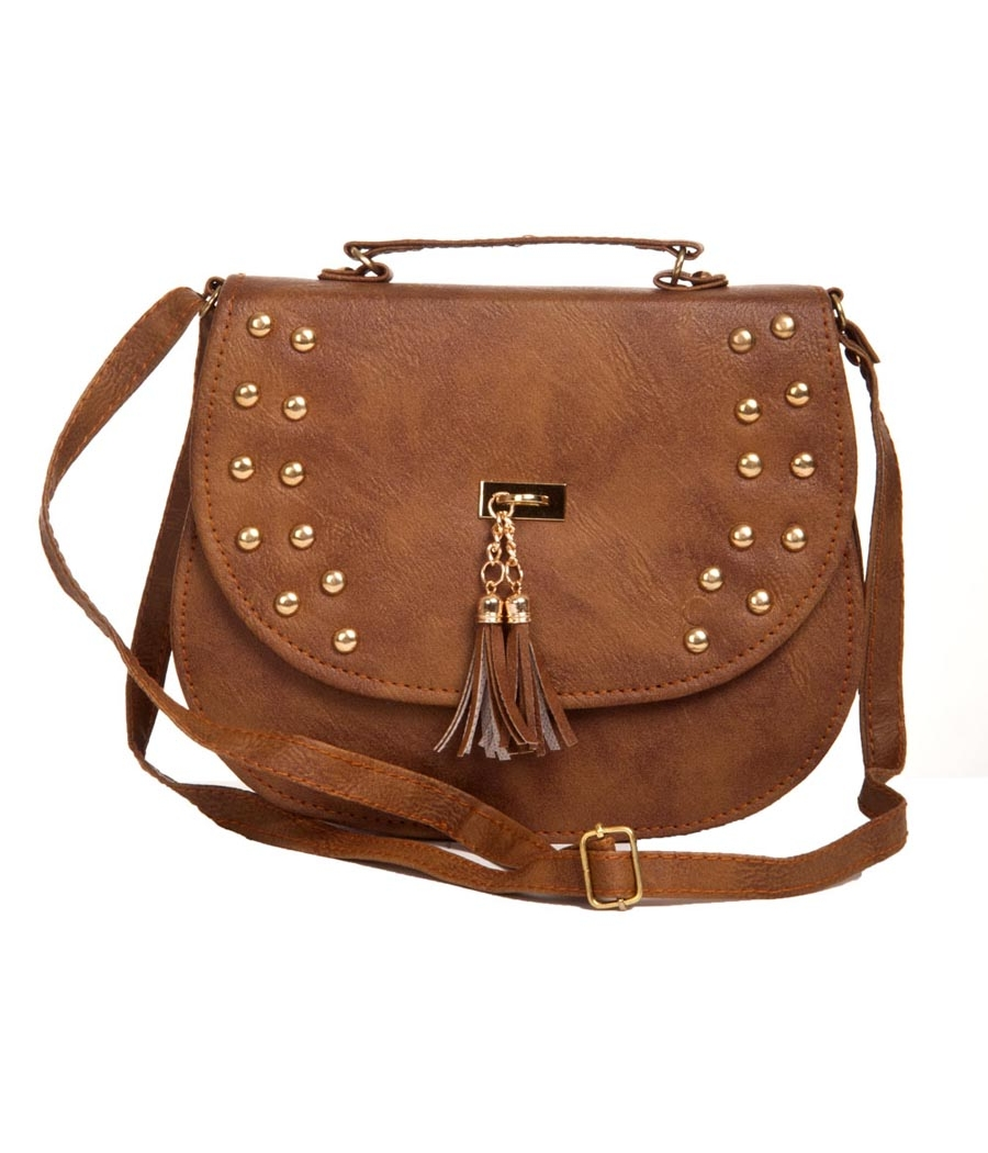 Envie Faux Leather Solid Bronze Magnetic Snap Closure Sling Bag