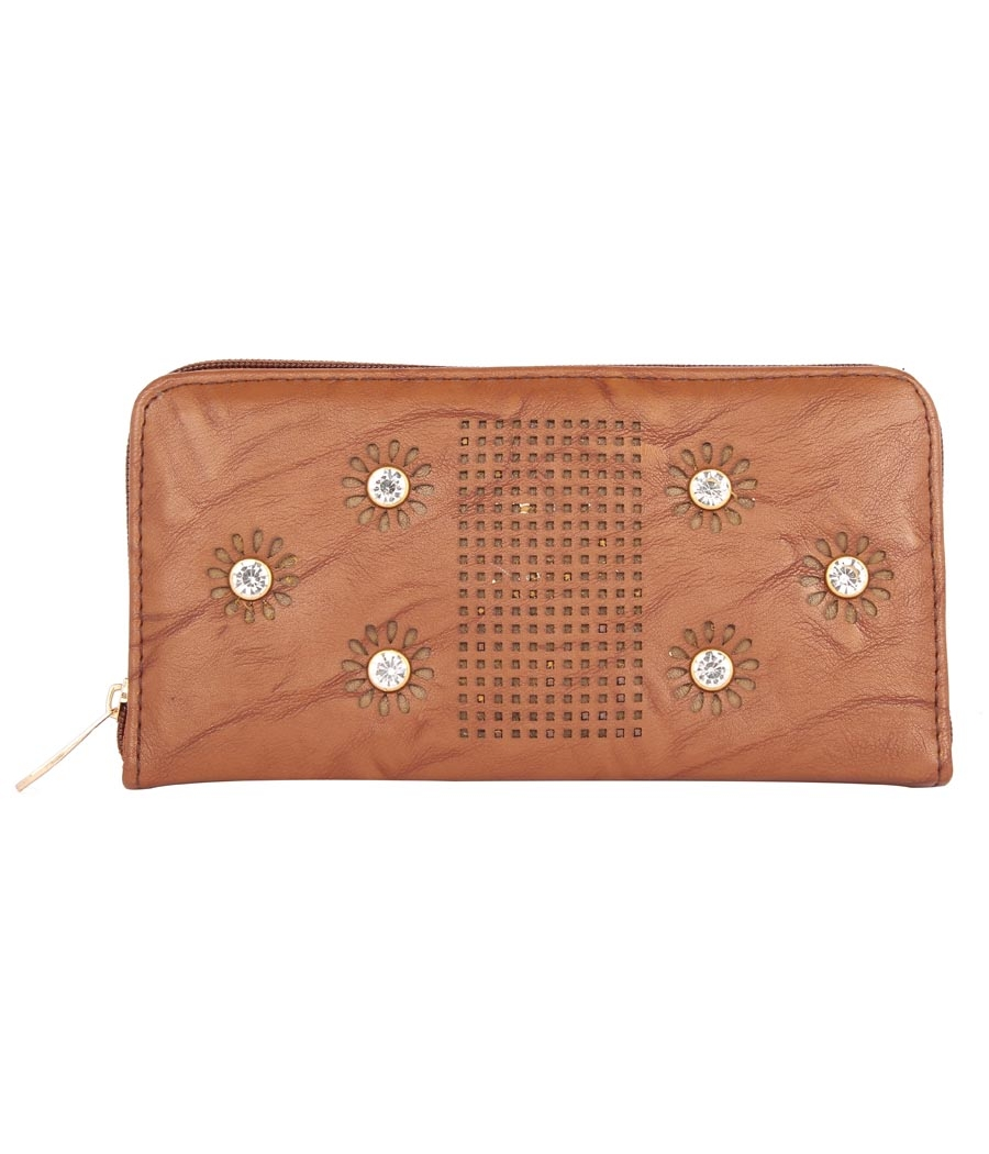 Aliado Faux Leather           Coffee Brown Embellished Zipper Closure Clutch