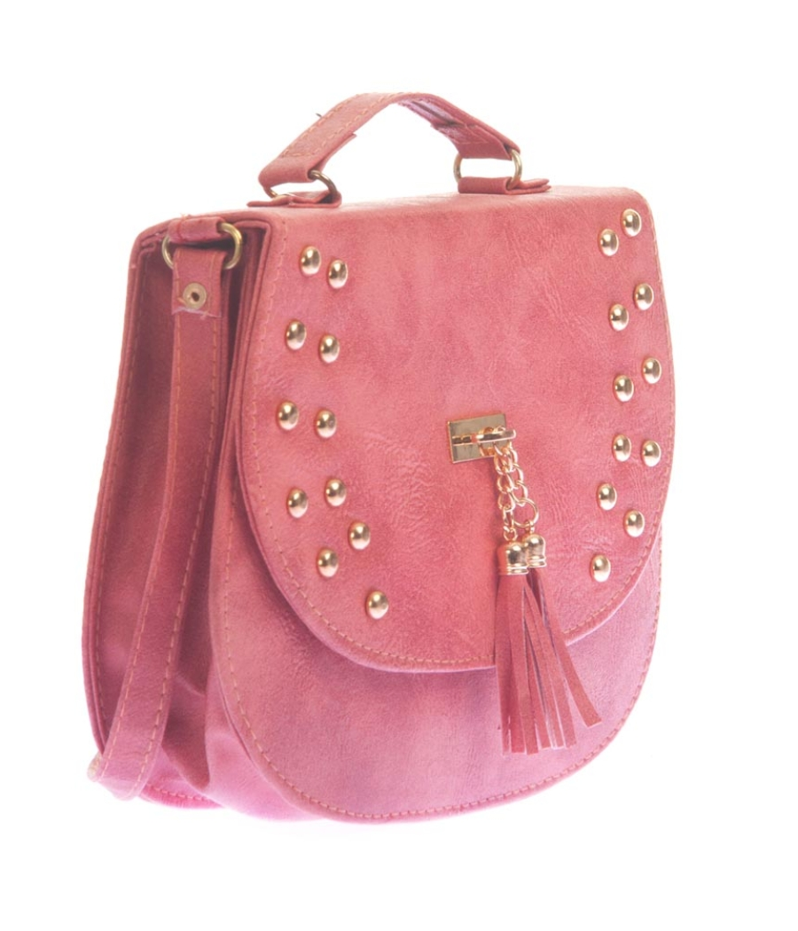 Envie Faux Leather Embellished Peach Magnetic Snap Sling Bag