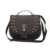 Envie Faux Leather Solid Black Magnetic Snap Closure Sling Bag