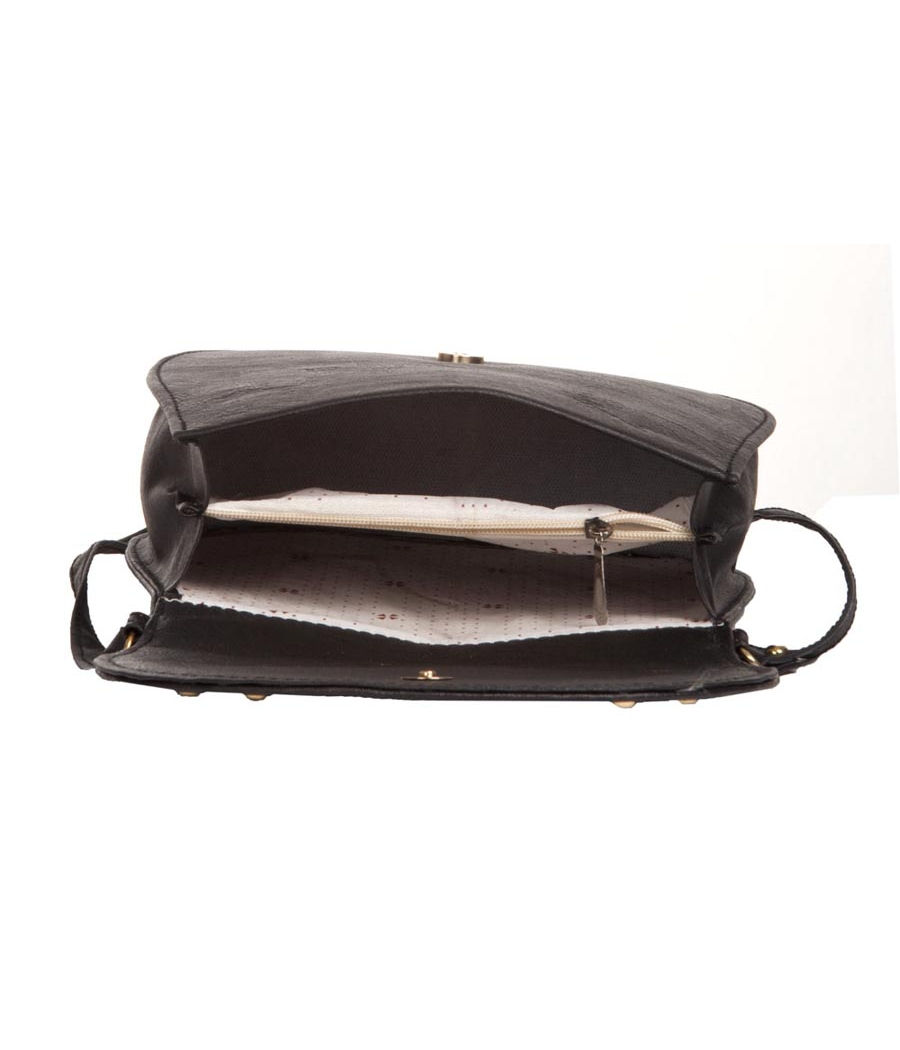 Envie Faux Leather Solid Black Magnetic Snap Closure Sling Bag