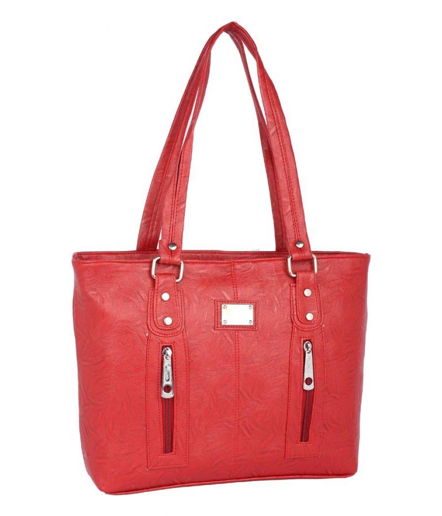 Aliado Faux Leather Red         Coloured Zipper Closure Handbag