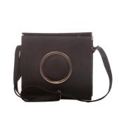 Envie Faux Leather Solid Black Magnetic Snap Sling Bag