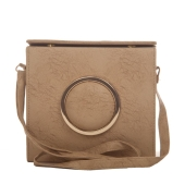 Envie Faux Leather Solid Cream Magnetic Snap Closure Sling Bag