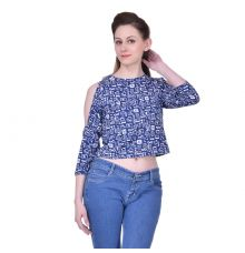 Estance Crepe White & Navy Blue Printed Round Neck Cold Shoulder Casual Top