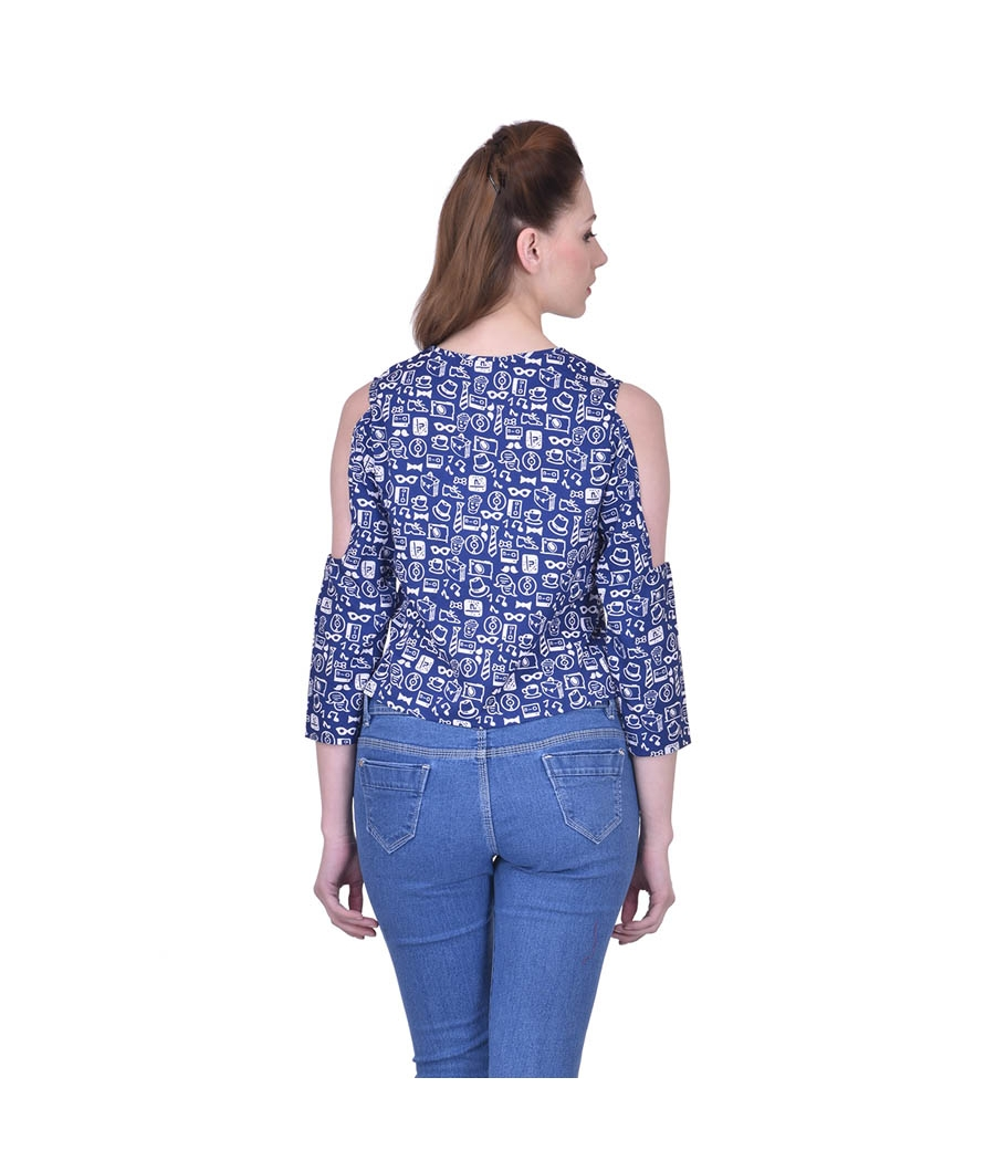 Estance Crepe White & Navy Blue Printed Round Neck Cold Shoulder Casual Top