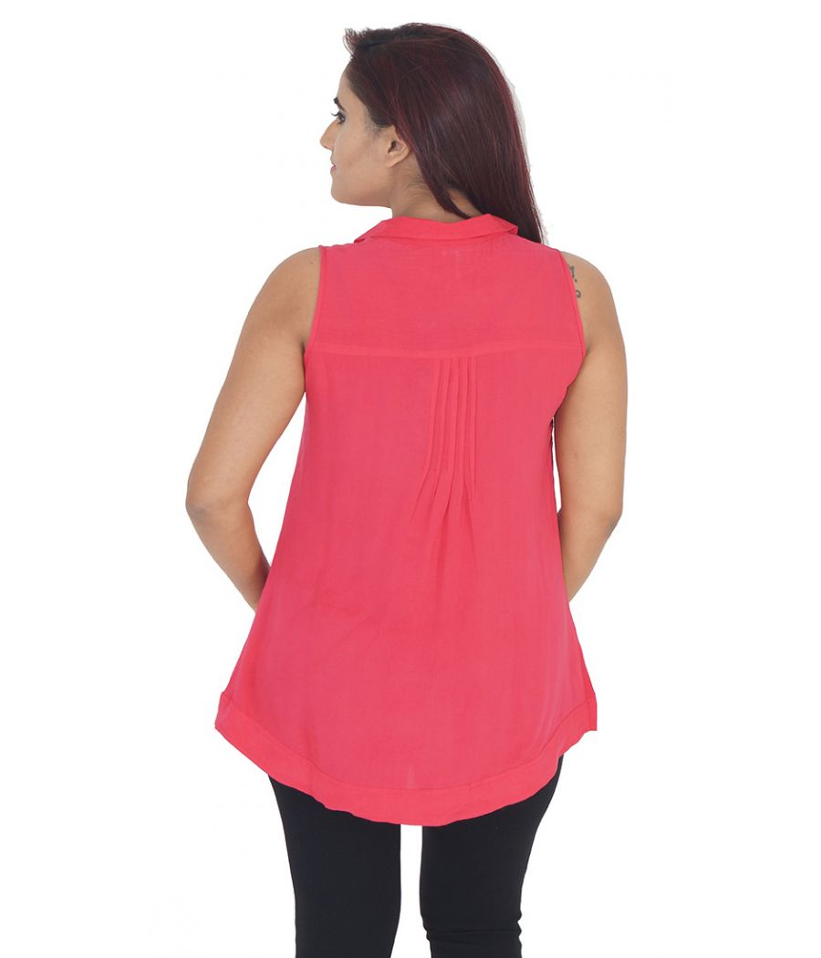 AND Polyester Plain Solid Coral Sleeveless Casual Top
