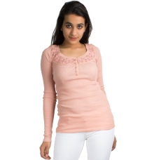 Peach Embroidered Beads Blouse