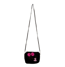 Envie Black Zipper Closure Quilted Pattern Sling Bag