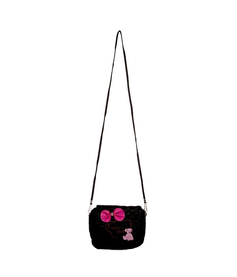 Envie Black Zipper Closure Quilted Pattern Sling Bag