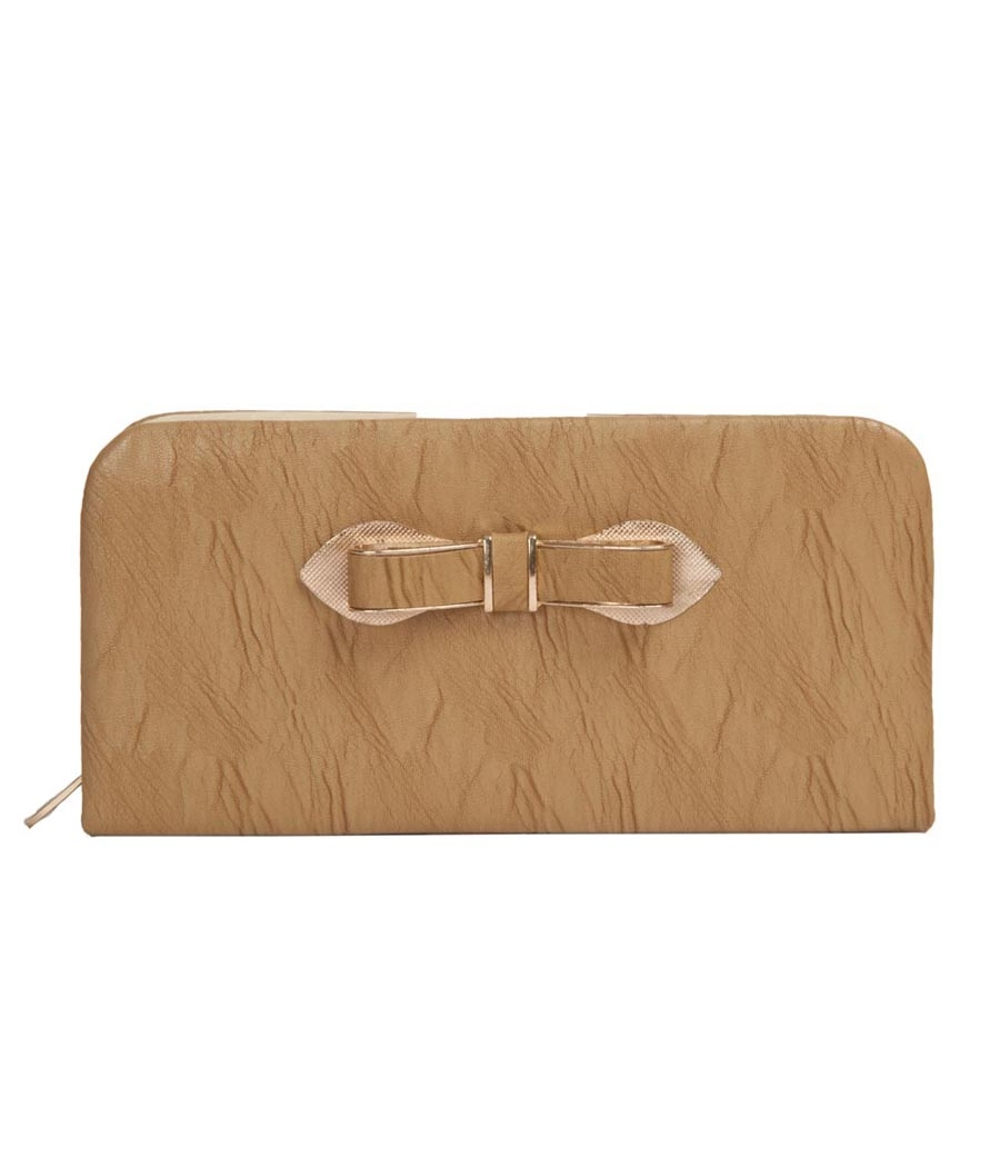 Envie Faux Leather Beige Coloured Zipper Closure Croc Pattern Clutch for Women