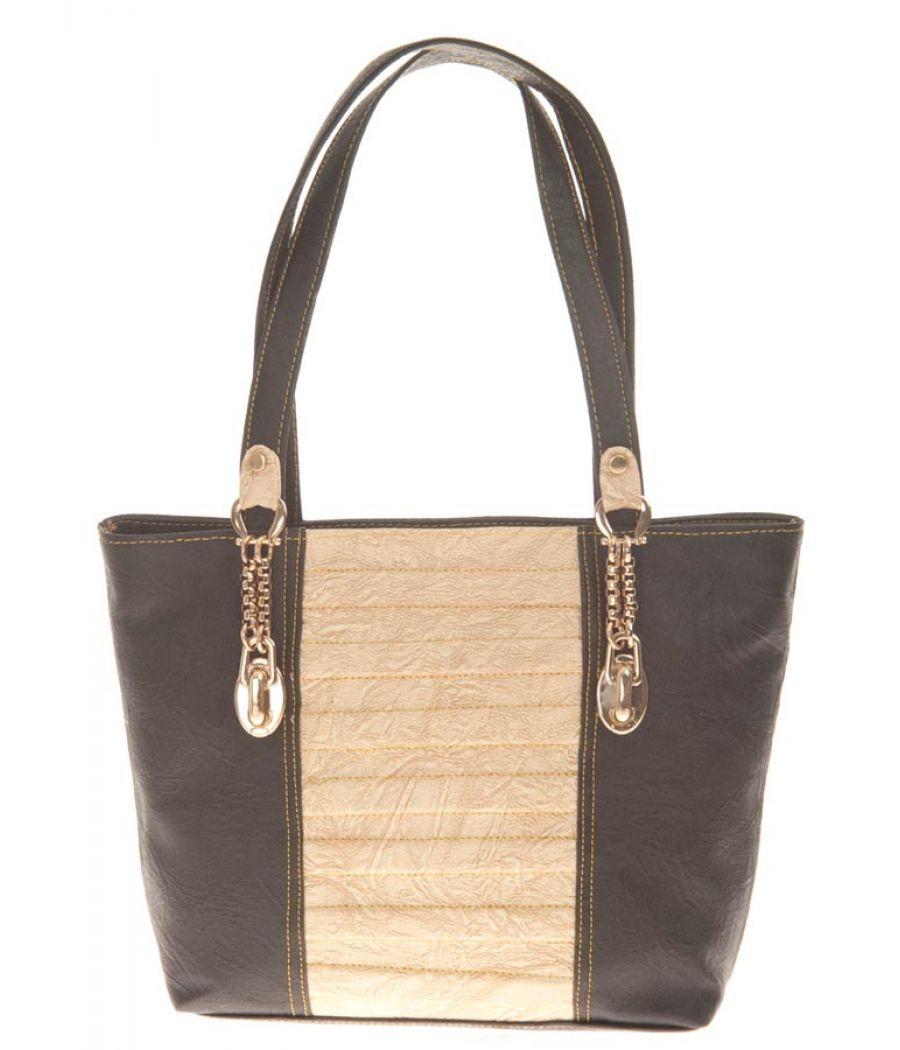 Aliado Faux Leather Black Coloured Zipper Closure Croc Pattern Tote Bag for Women