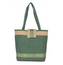 Aliado Jute Green  Coloured Zipper Closure Bag