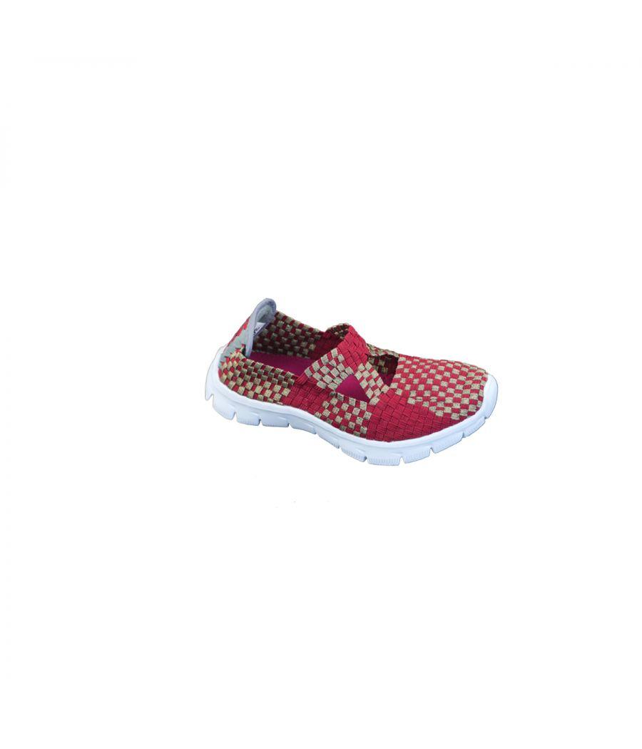 Estatos Leather Red Coloured Broad Toe Flat Heel Sneakers