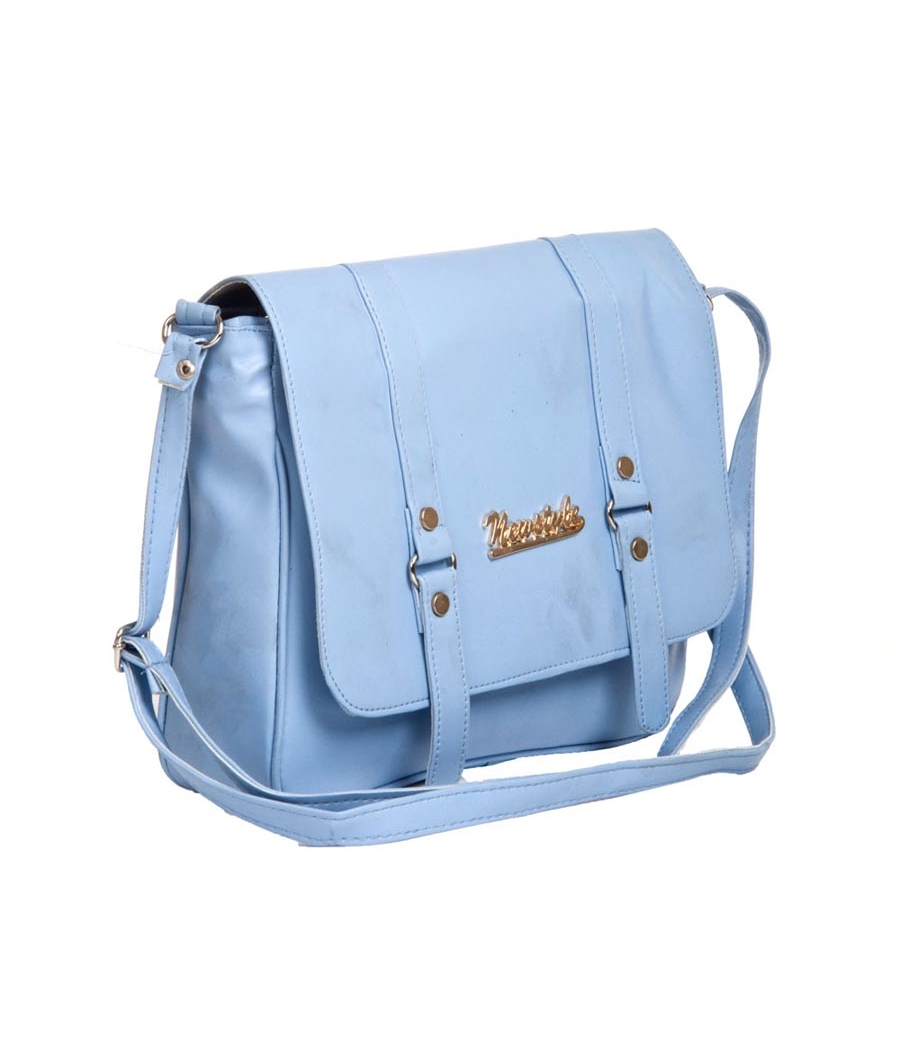 Envie Faux Leather Solid Blue Magnetic Snap Crossbody Bag