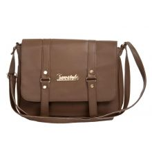 Envie Faux Leather Solid Grey Melange Magnetic Snap Sling Bag