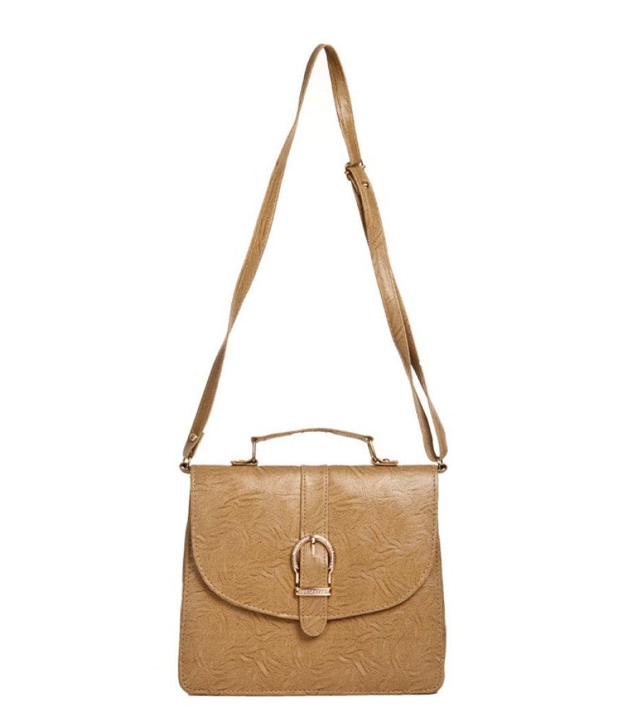 Envie Faux Leather Solid Cream Magnetic Snap Sling Bag