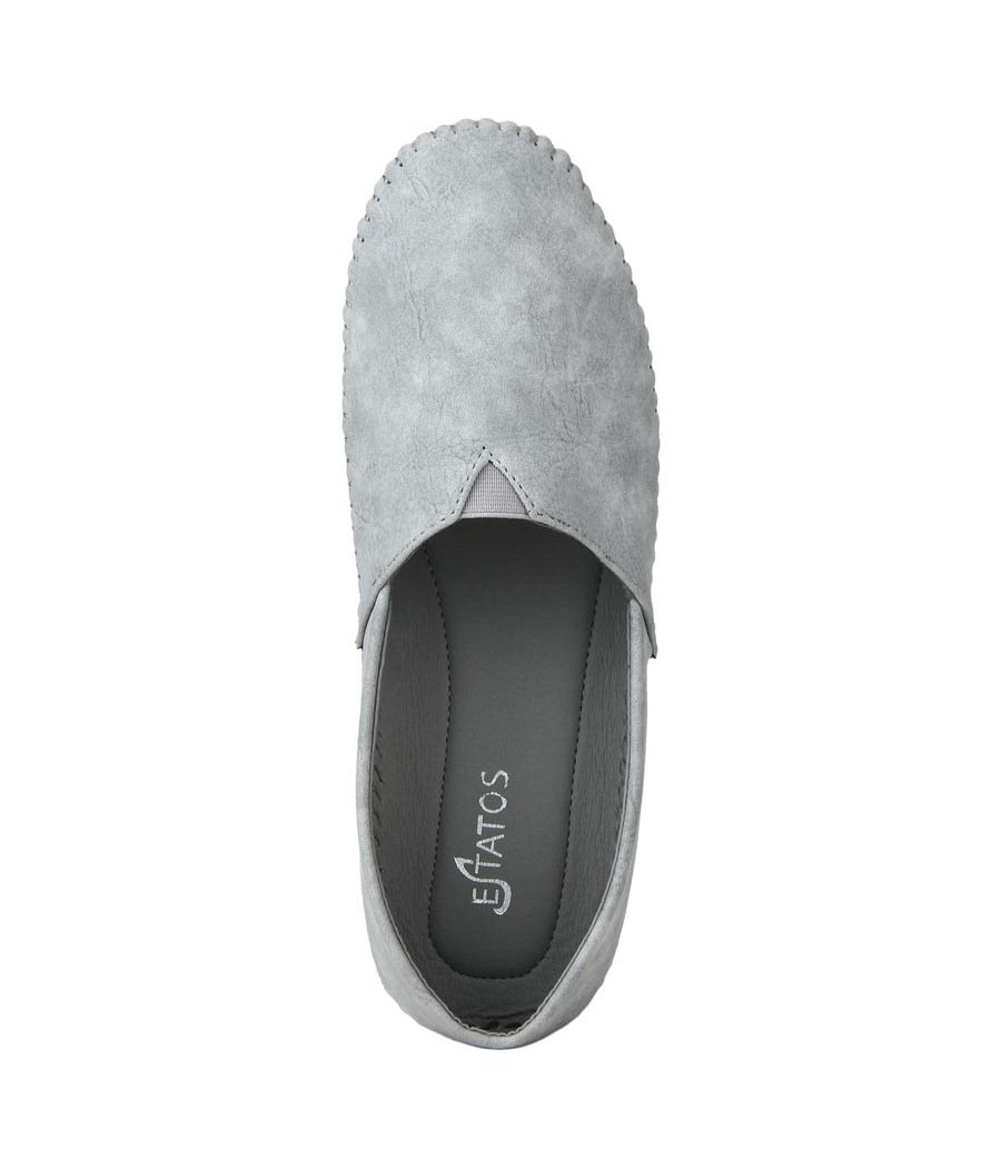 Estatos Frosted Suede Leather Broad Toe Grey Comfortable Flat Slip On Espadrilles for Women