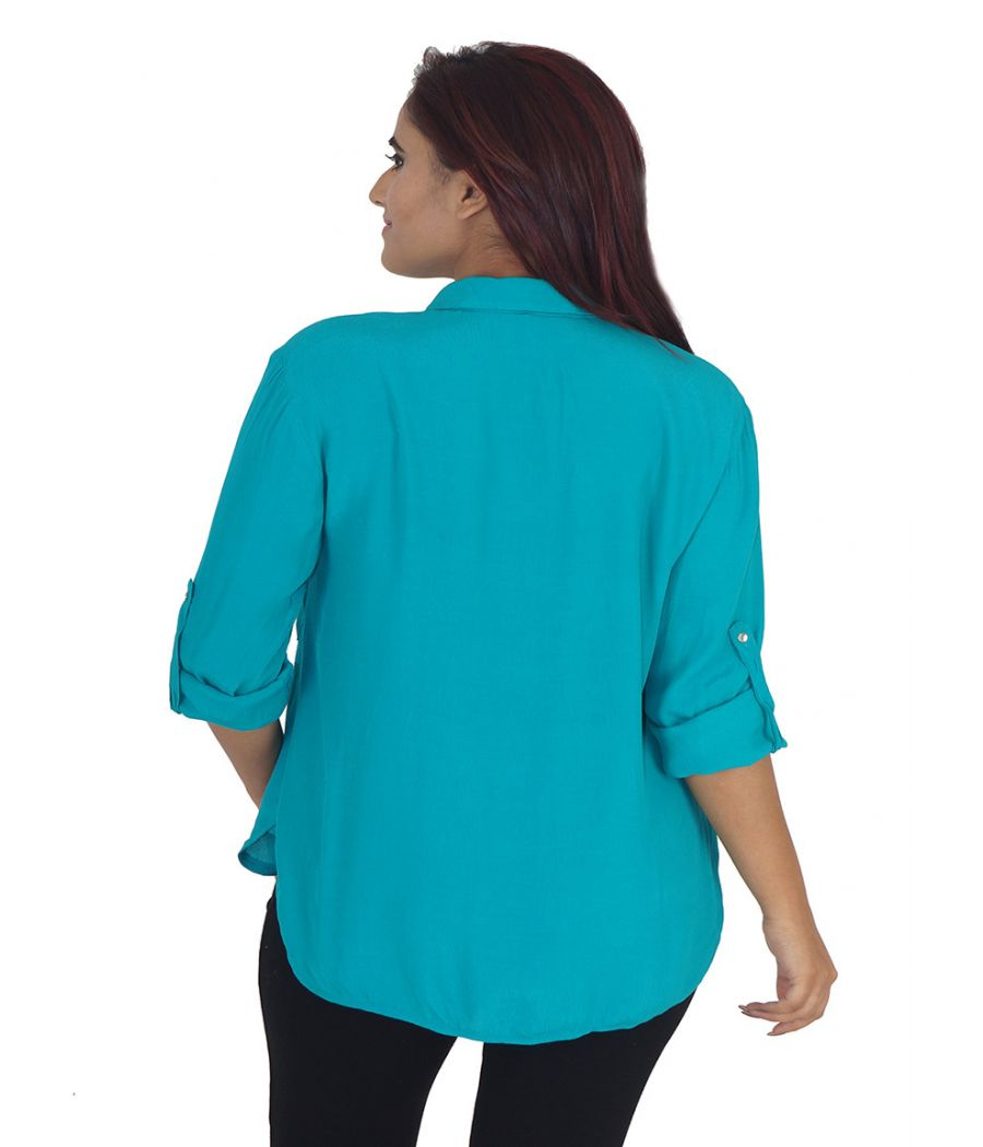 Mango Polyester Solid Turquoise Full Sleeves Casual Shirt