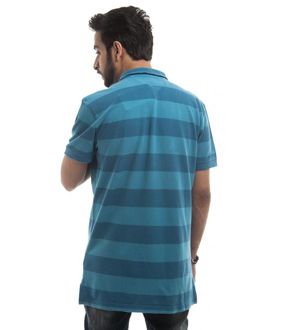 Tommy Hilfiger Polycotton Teal & Blue Plain Striped Regular Fit Casual T-shirt
