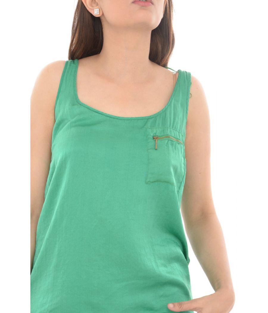 Zara TRF Plain Zipper Pocket Detailing Green Top