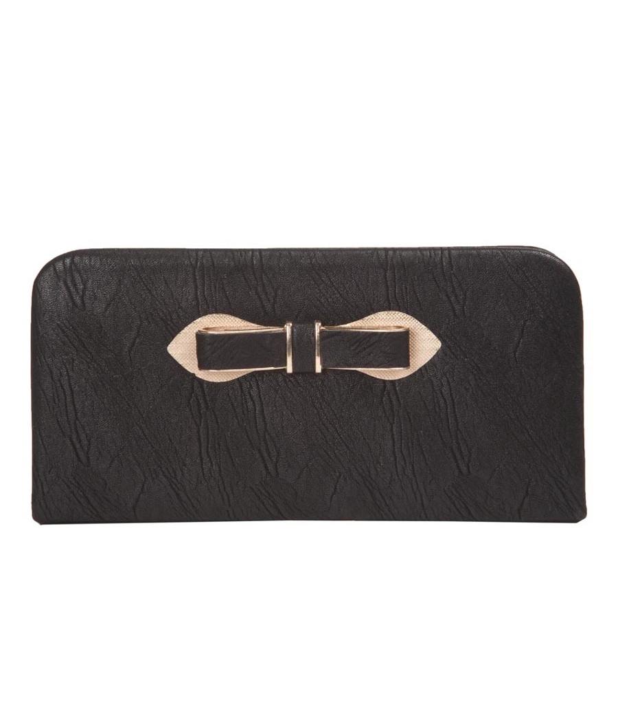 Envie Faux Leather Black Coloured Zipper Closure Croc Pattern Clutch