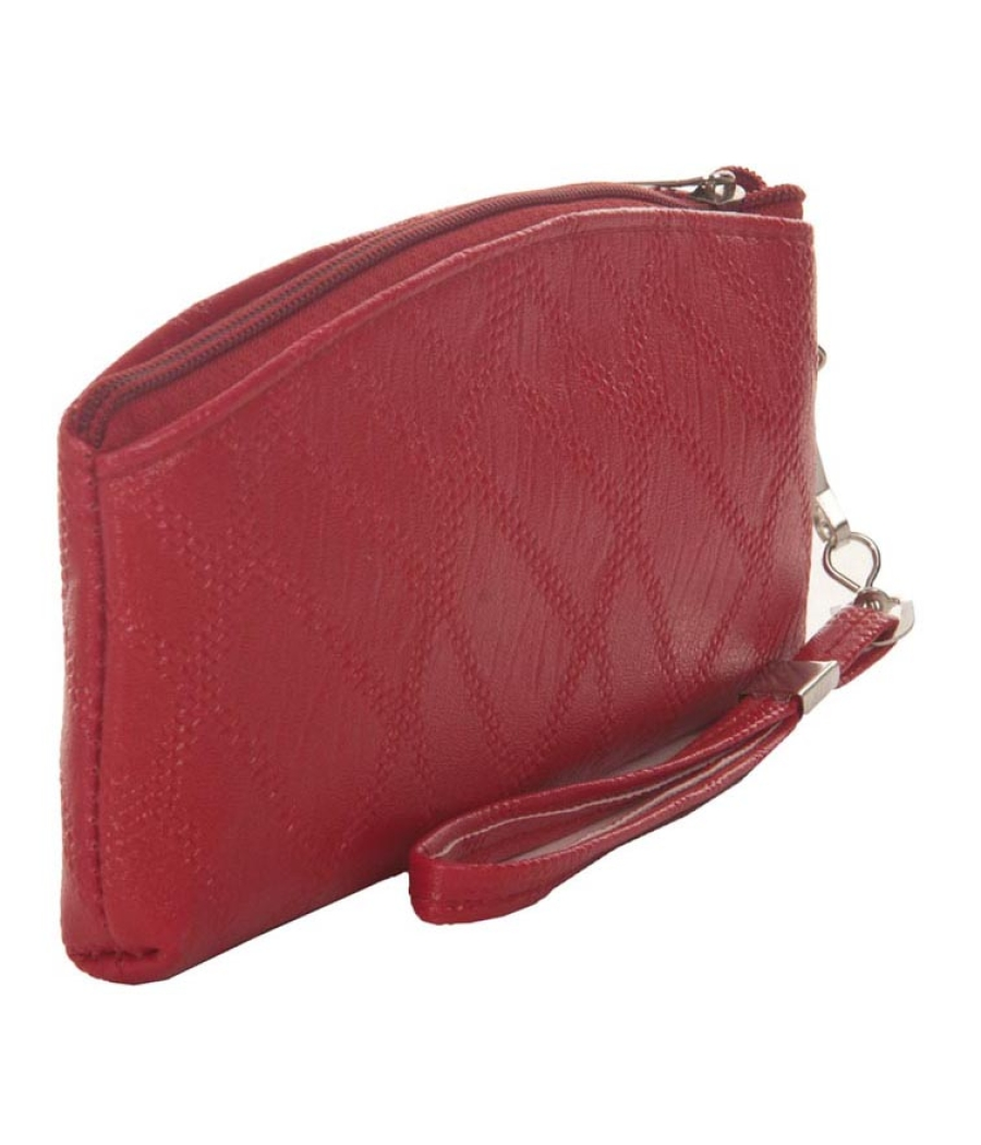 Envie  Red Faux Leather  cosmetic/utility Bag/pouch