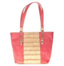 Aliado Faux Leather Peach Coloured Zipper Closure Croc Pattern Handbag