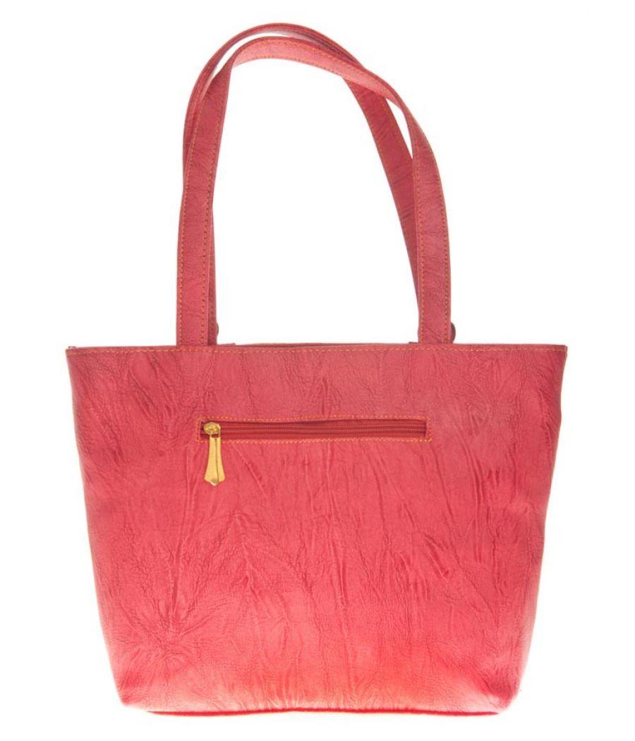 Aliado Faux Leather Peach Coloured Zipper Closure Croc Pattern Handbag