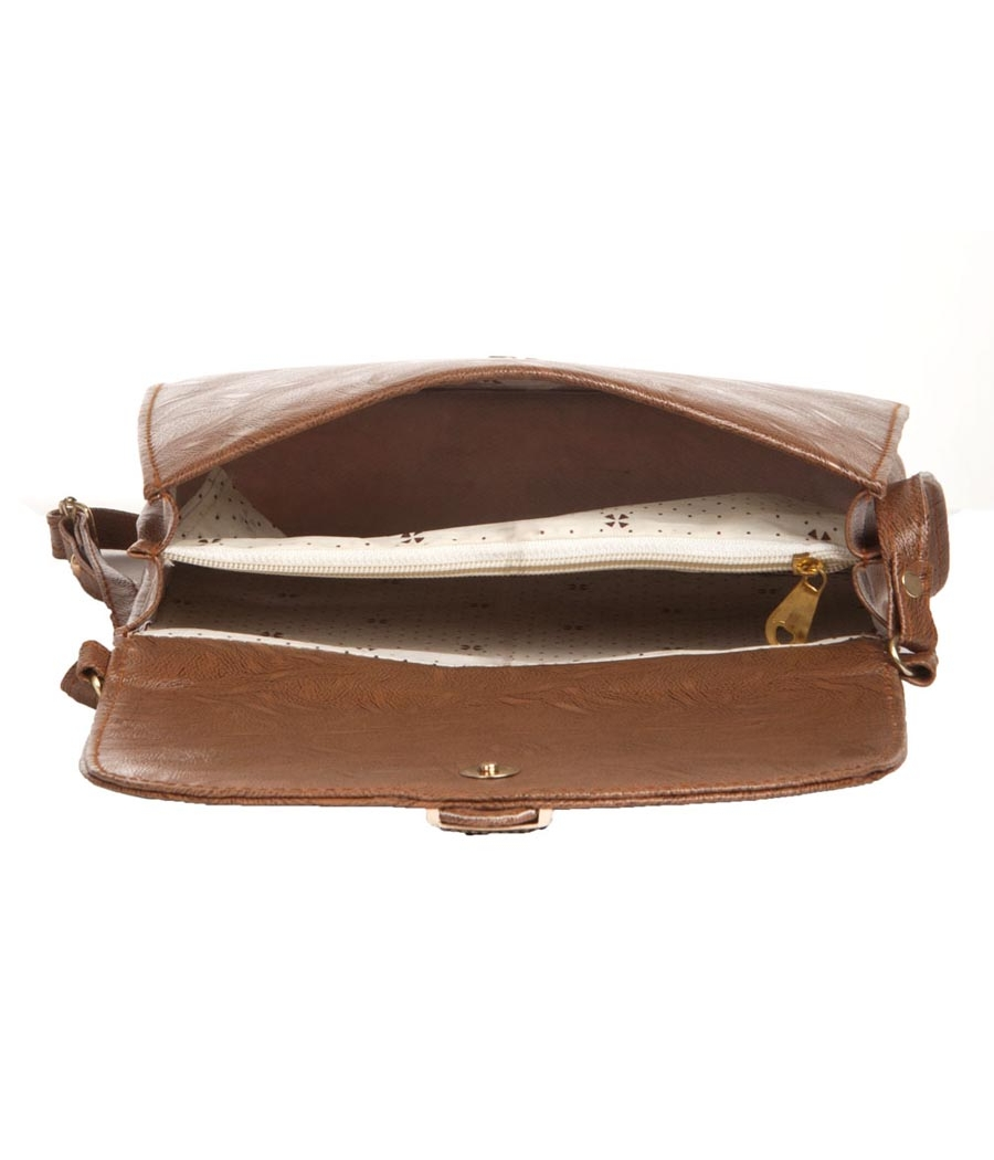 Envie Faux Leather Solid Coffee Brown Magnetic Snap Sling Bag