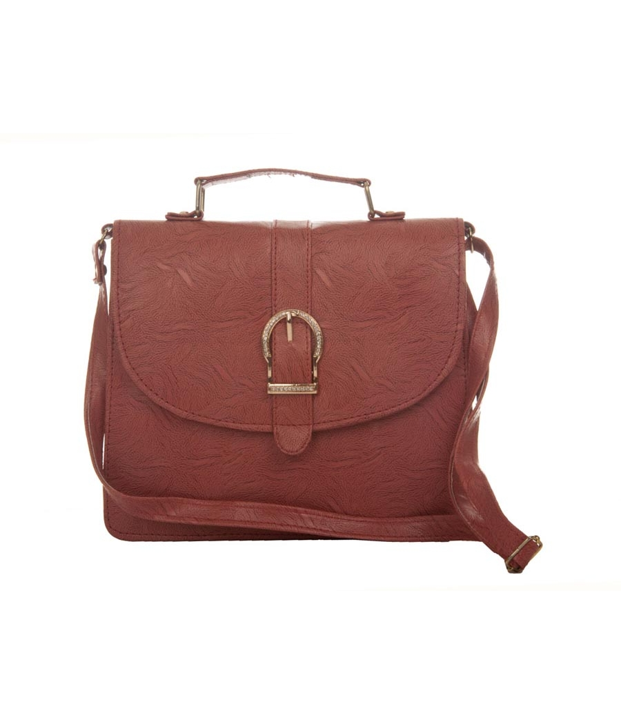 Envie Faux Leather Solid Peach Magnetic Snap Closure Sling Bag