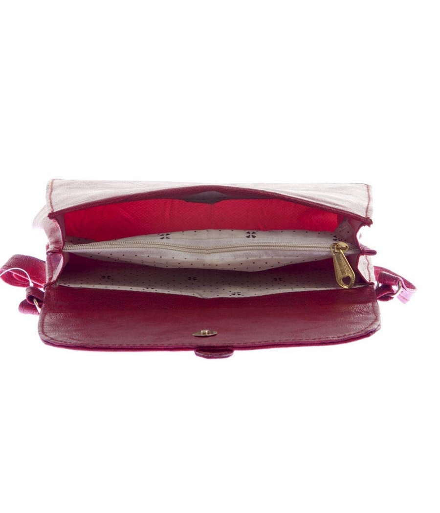 Envie Faux Leather Solid Magenta Magnetic Snap Sling Bag