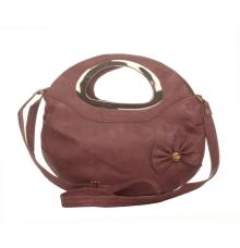 Envie Faux Leather Solid Brown Zipper Closure Embellished Sling Bag