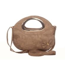 Envie Faux Leather Solid Beige Zipper Closure Crossbody Bag