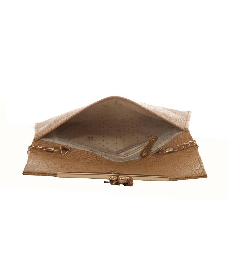 Envie Faux Leather Beige Coloured Magnetic Snap Croc Pattern Sling Bag
