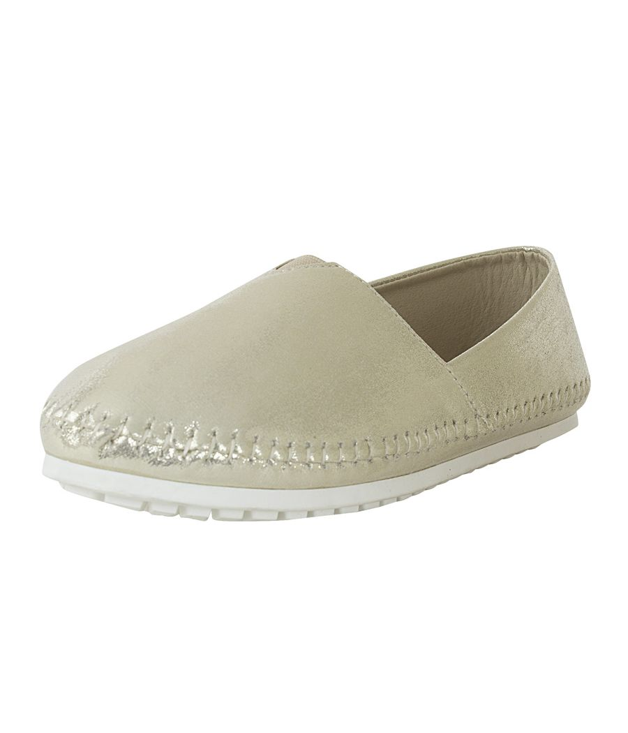 Estatos Frosted Suede Leather Broad Toe Golden Comfortable Flat Slip On Espadrilles for Women
