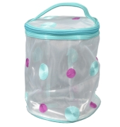 Aliado PVC transparent Cylendrical Zipper with Blue and Purple embroidery cosmetic bag/pouch/cover