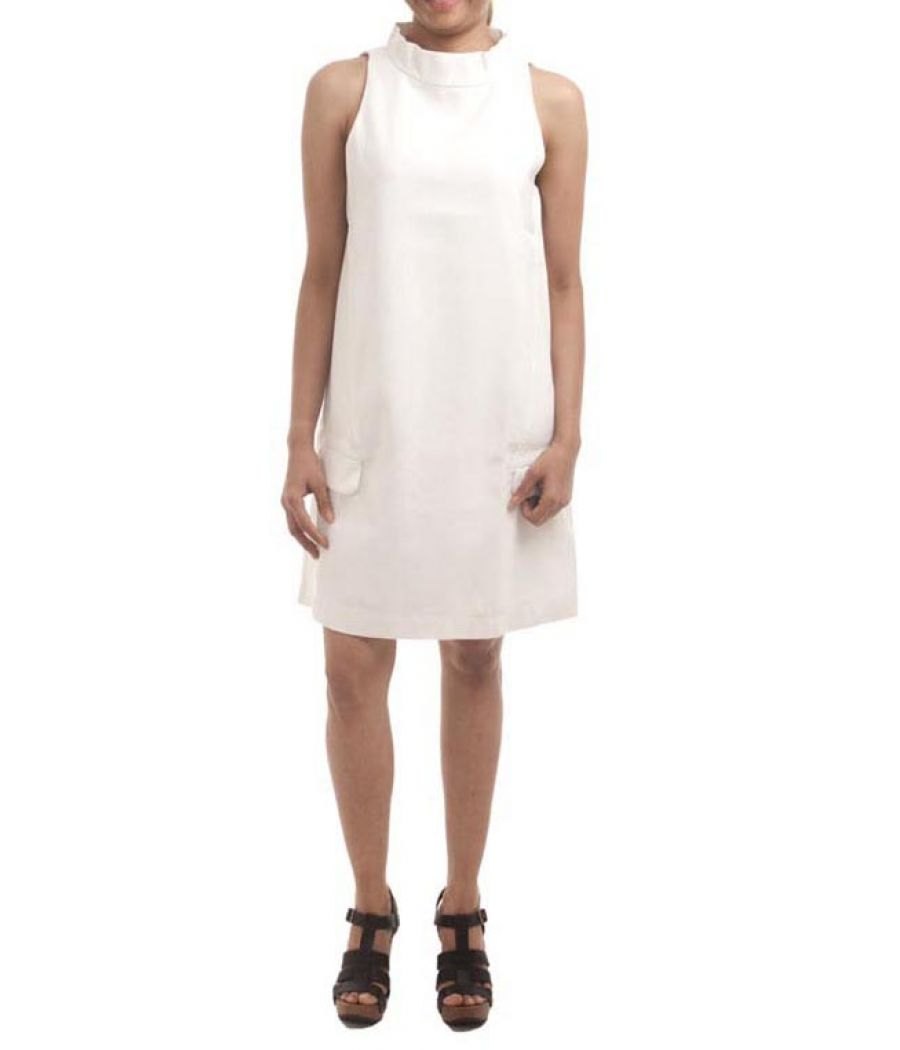 a7c376699cef3 Zara Basic Polyester Plain Solid White Sleeveless Midi Shift Dress ...