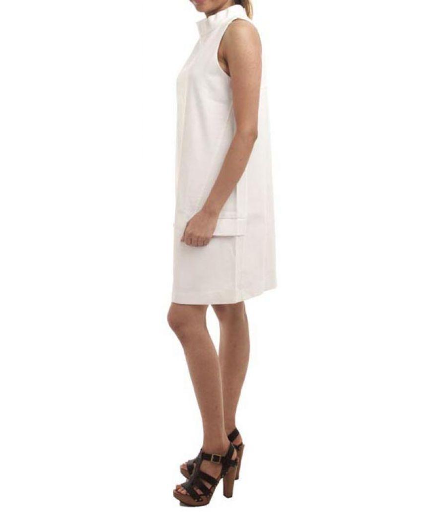 Zara Basic Polyester Plain Solid White Sleeveless Midi Shift Dress