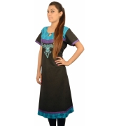 Black Umbrella Cut Cotton Kurta