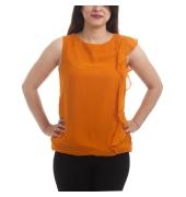 Miss Rich Georgette Solid Orange Sleeveless Round Neck Ruffle Design Casual Top
