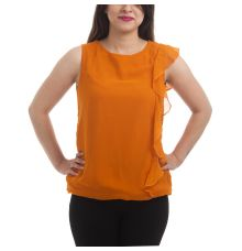 Miss Rich Georgette Solid Orange Sleeveless Round Neck Ruffle Design Casual Top