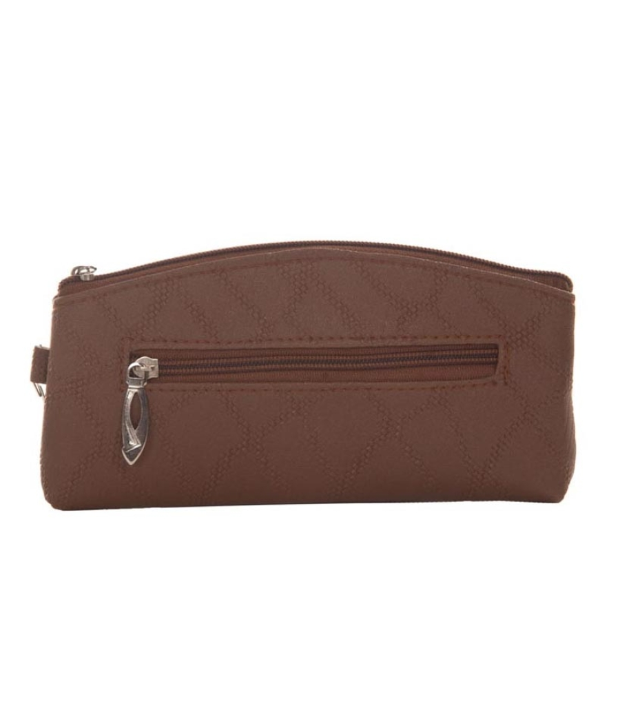 Envie Brown Faux Leather  cosmetic/utility Bag/pouch