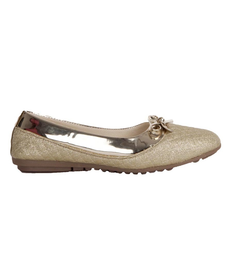 MCS Synthetic Leather Gold Broad Toe Flat Heel Belly Shoes