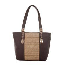 Aliado Faux Leather Coffee Brown Croc Pattern Zipper Closure Handbag