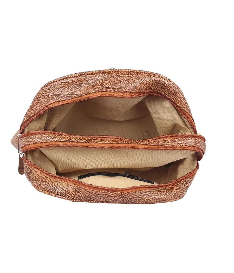 Aliado Faux Leather Brown Coloured Zipper Closure Backpack