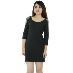 H&M Black Embellished Shoulder Bodycon Dress