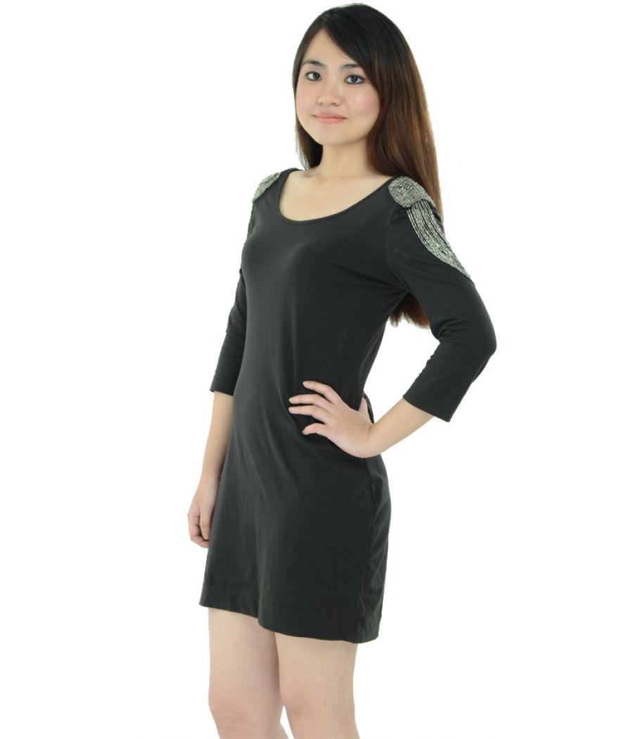H&M Black Embellished Shoulder Bodycon Dress