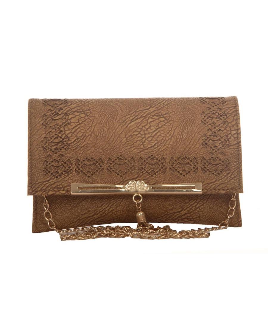 Envie Faux Leather Brown Coloured Magnetic Snap Croc Pattern Sling Bag